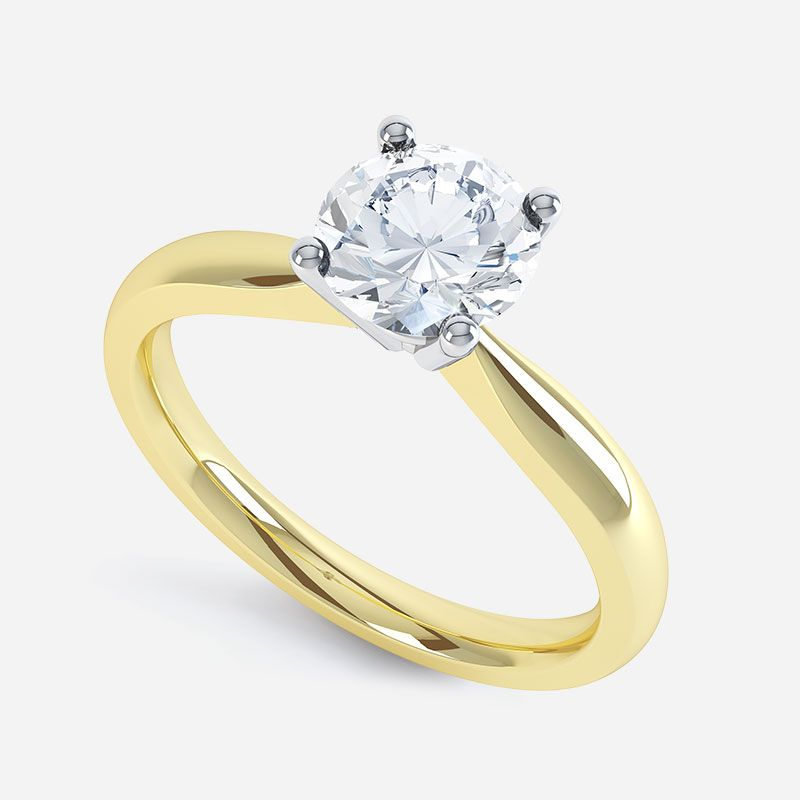 Buy Sheetal Diamonds 0.15tcw Simple Looking Real Round Solitaire Diamond Ring 18k Yellow Gold R0321-18k online