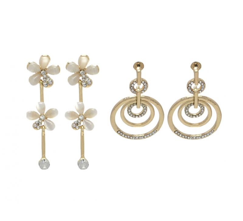 Buy FashBlush Floral Golden Geometric -Set Of 2 Pairs Zircon Alloy Dangle Earring online