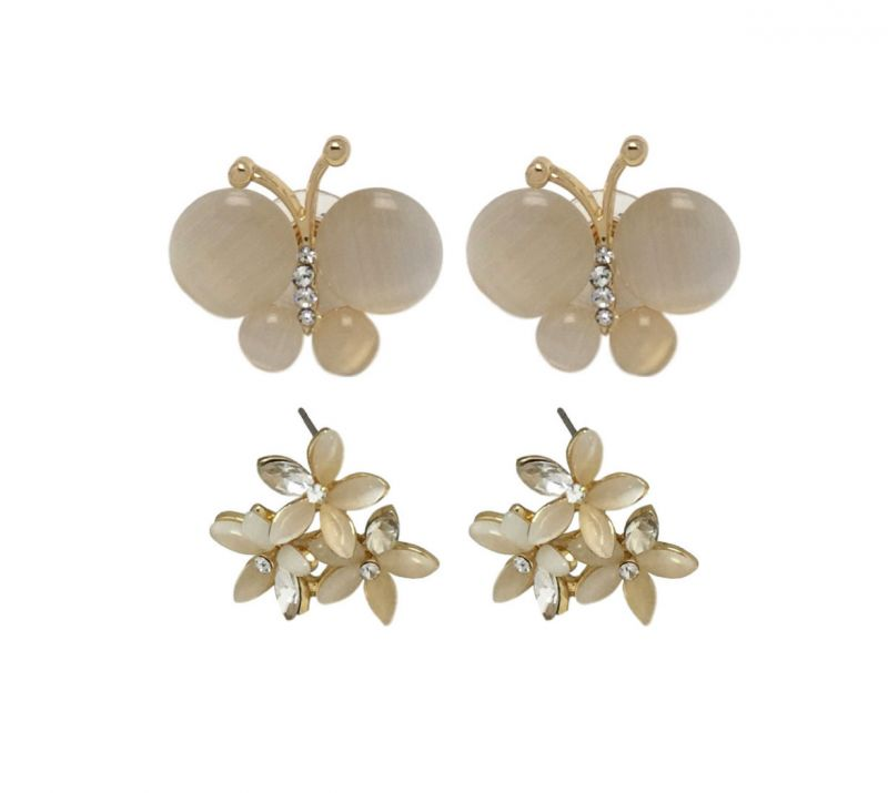 Buy FashBlush Butterfly Golden Floral -Set Of 2 Pairs Zircon Alloy Stud Earring online