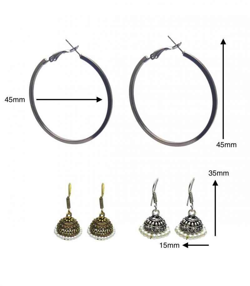 Buy Fashblush Combo Of Golden Silver Hoop And Jhumki Earrings (set Of 3 Pairs) online