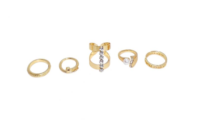 Buy FashBlush Alloy Zirconia Yellow Gold Ring Set online