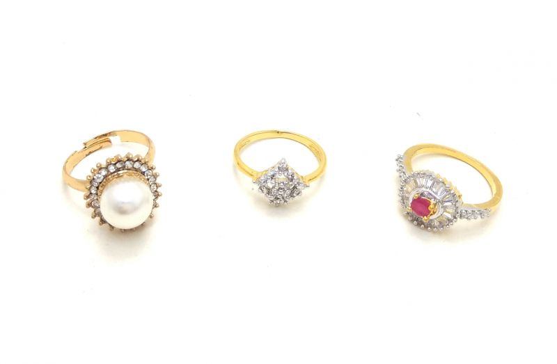 Buy FashBlush Combo Of 3 Golden American Diamond with Pink Stone Ring Set online