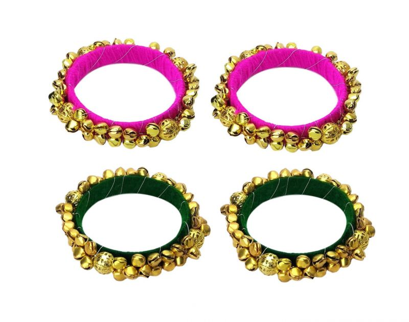 Buy Fashblush Pink And Green Handmade Ethnic Ghungroo Bangles Set Of 4 online