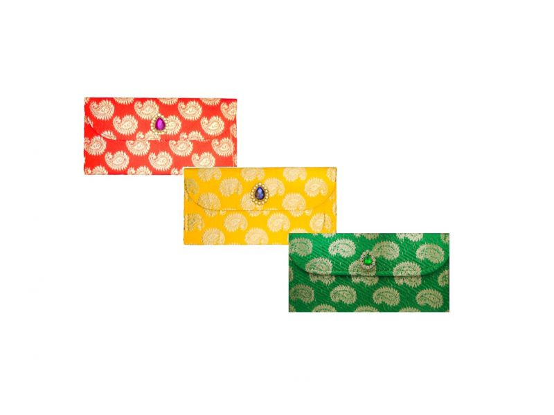 Buy Fashblush Designer Ethnic Festivity Glamour Envelopes(pack Of 3 Red, Blue, online
