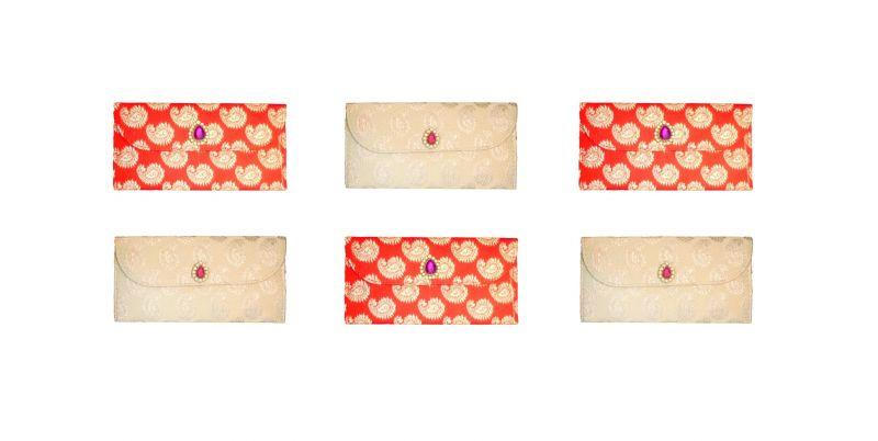 Buy Fashblush Designer Ethnic Festivity Glamour Envelopes(pack Of 6 Red, Beige, online