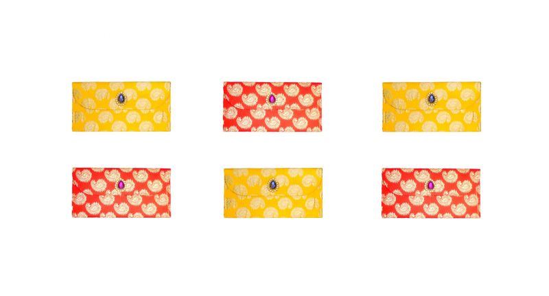 Buy Fashblush Designer Ethnic Festivity Glamour Envelopes(pack Of 6 Red, Yellow online