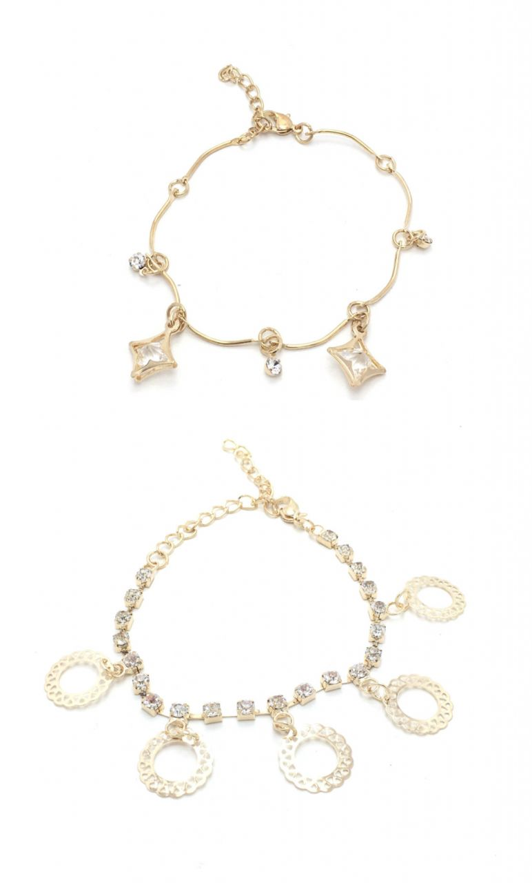 Buy FashBlush Golden Filigree Geometric Cubic Zirconia Charm Anklets -Pack of 2 online
