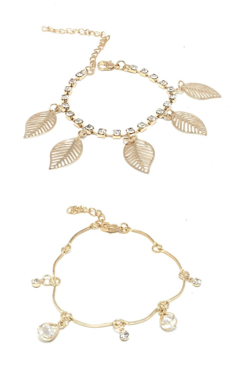 Buy FashBlush Golden Oval Leaf Cubic Zirconia Charms Anklets??-Pack of 2 online