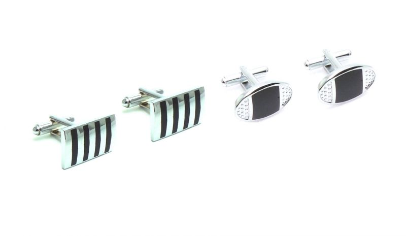 Buy Fashblush Silver And Black Alloy Geometric Print Cufflinks (set Of 2pairs) For Mens(product Code -fb44035) online