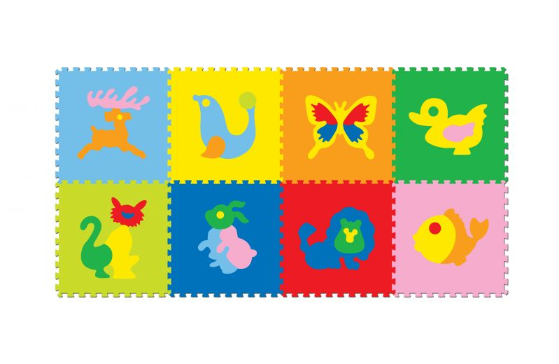 Buy Fashblush Non-woven Free Play Puzzle Mat Pictured Animals Multicolor - 8 Pieces online