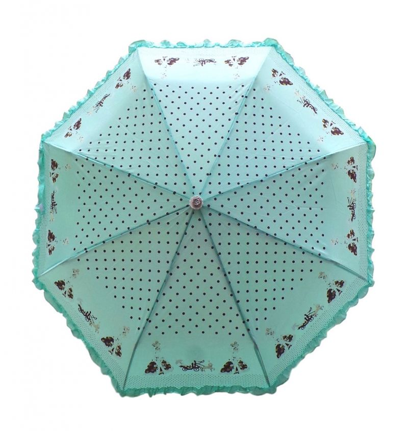 Buy Fashblush Polka Dots Frill Affair 2 Fold Umbrella(green, Black, Brown) (product Code Fb62032) online