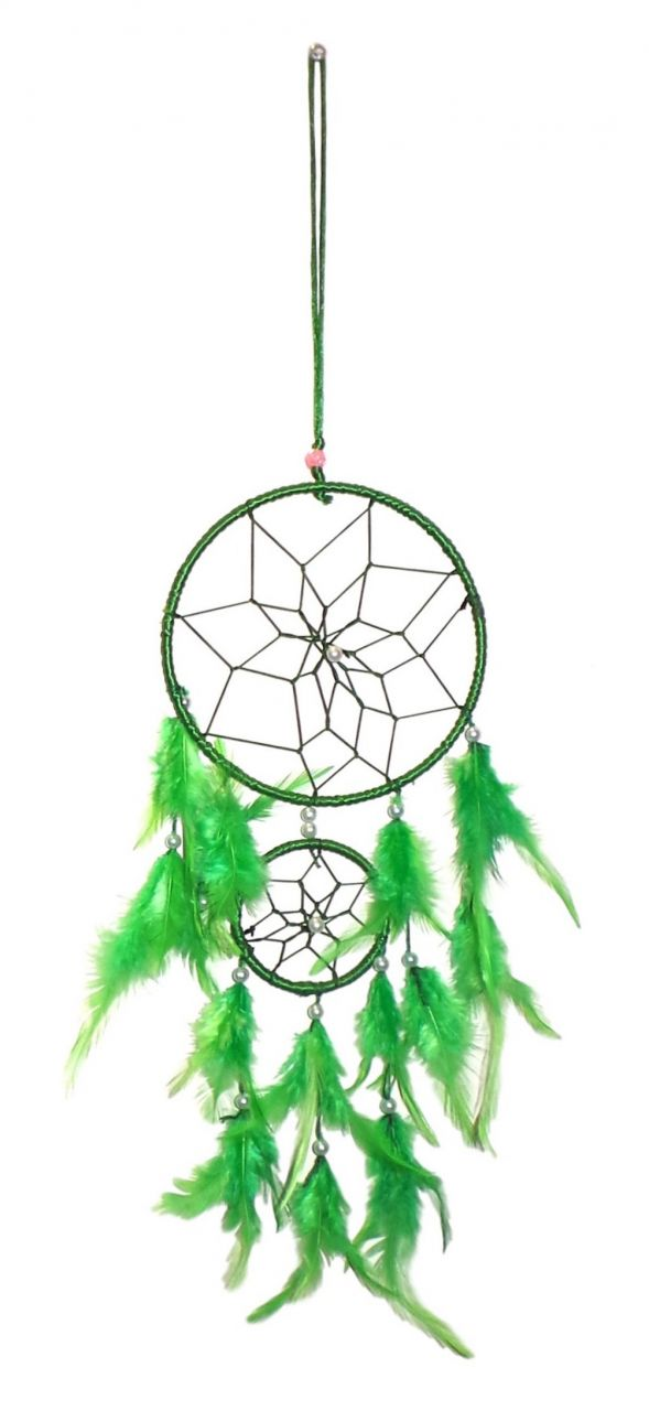 Buy Fashblush Mystical Feathers Dream Catchers Wool Windchime (24 Inch, Green, White) online