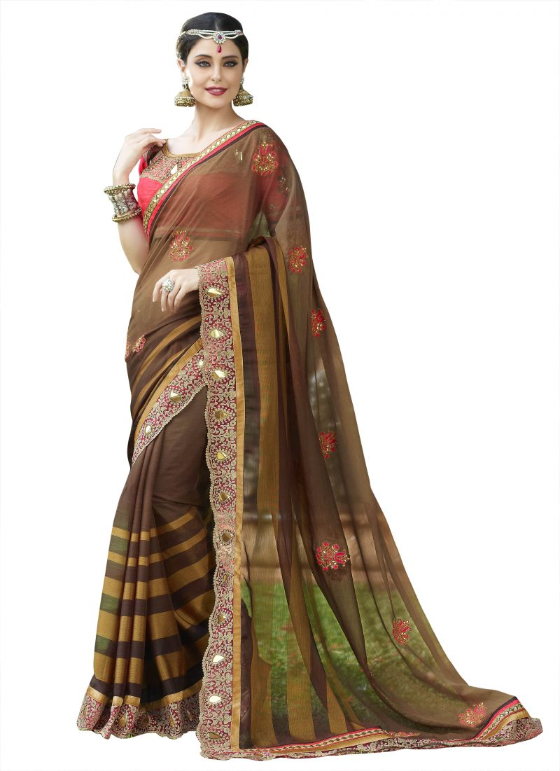 Buy Kvsfab Brown Georgette Designer Saree online