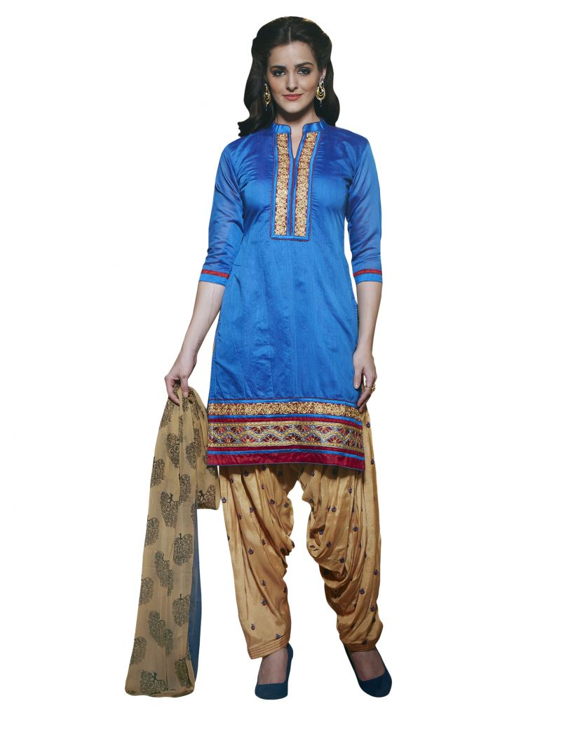 Buy Kvsfab Blue Pure Chanderi Embroiderd Patiala Dress Material Kvssk275sunh_2 online