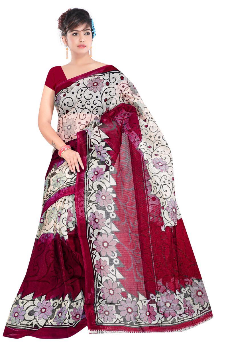 Buy Kvsfab Cream & Burgandi Printed Saree (KVSSR8035ABOLI) Ideal for Diwali Gifts Online online