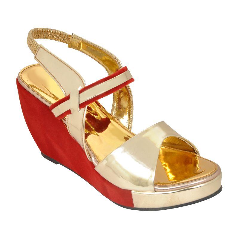 Buy Altek Stylish Golden Patent Women Heel Wedges (code - 1369_gold) online