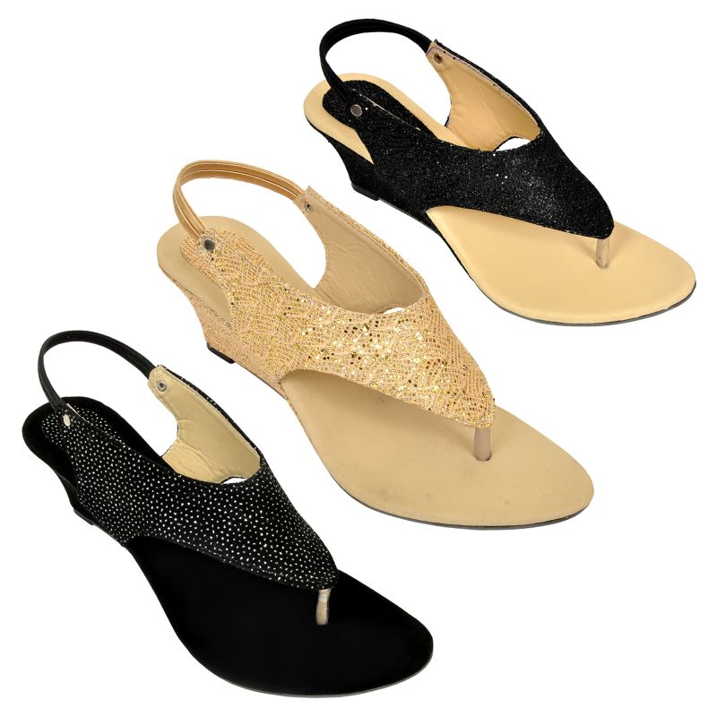 Buy Combo Pack Of Three Multi-color Stylish Wedges For Women (code - 1515_3_1311_bal_1337_bal_gld) online