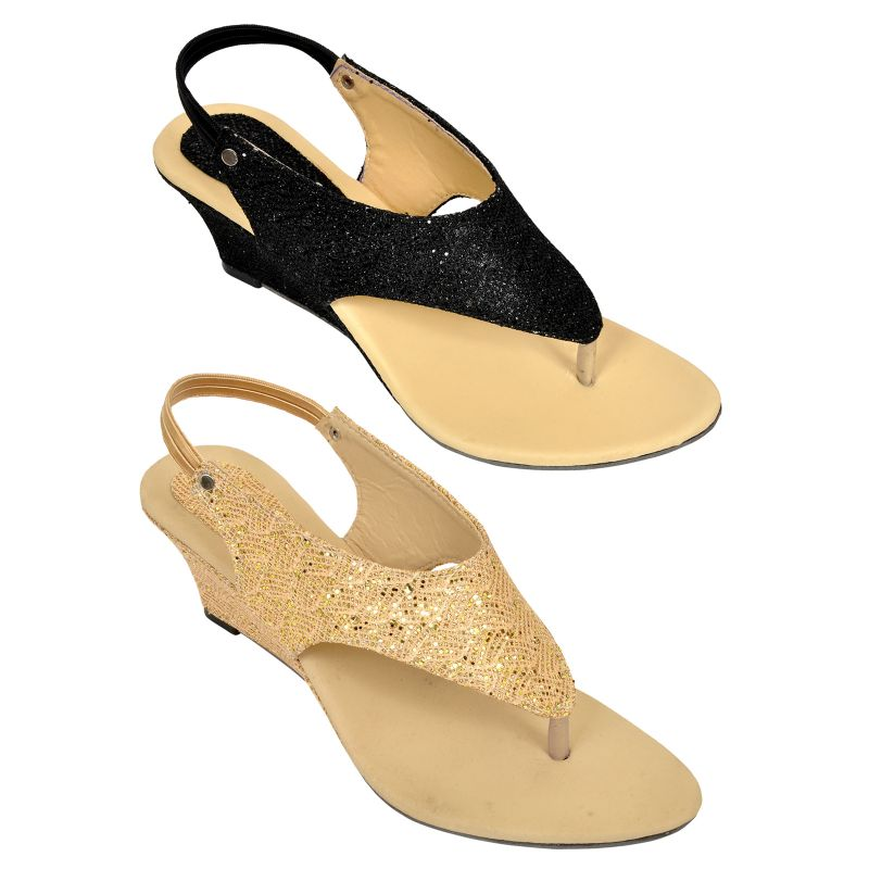 Buy Combo Pack Of Two Multi-color Stylish Wedges For Women (code - 1516_2_1337_bal_gld) online