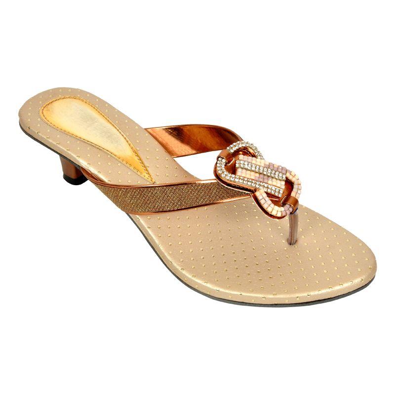 Buy Altek Shiny Comfort Copper Heel Sandal (product Code - Foot_1342_copper) online
