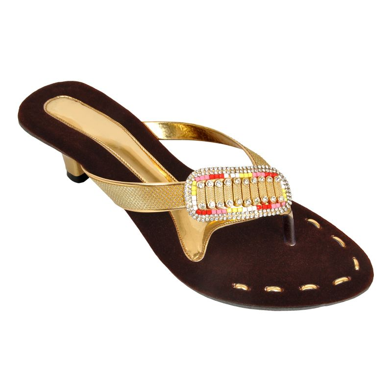 Buy Altek Shiny Comfort Golden Heel Sandal (product Code -foot_1343_golden) online