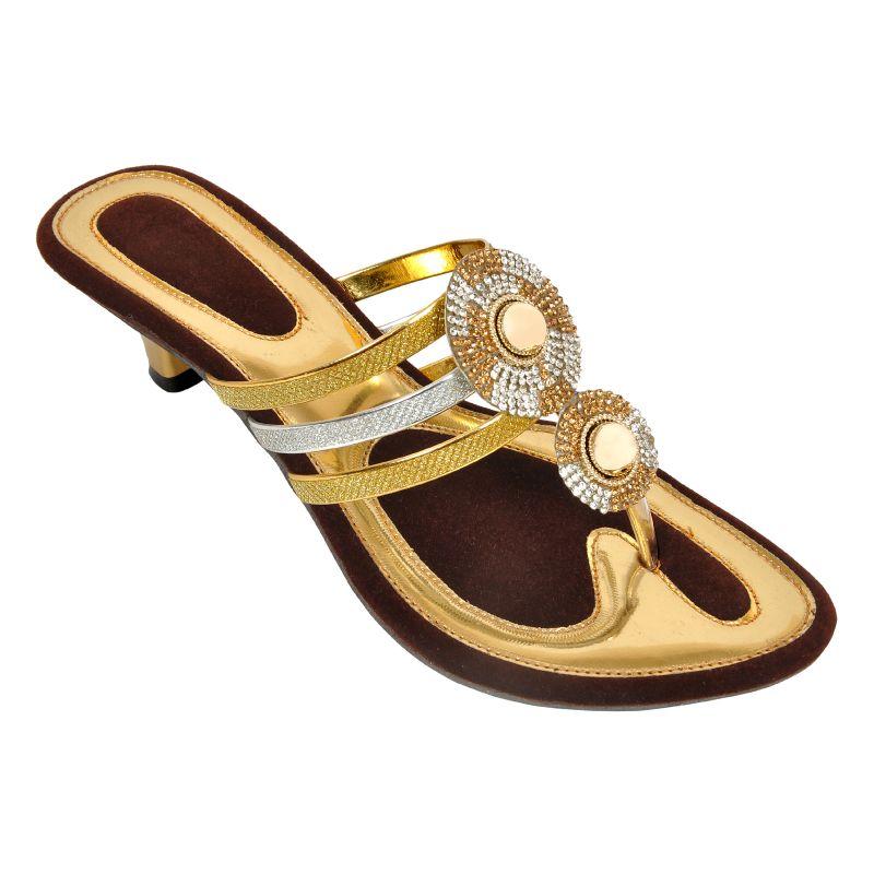 Buy Altek Shiny Comfort Golden Heel Sandal (product Code - Foot_1347_golden) online