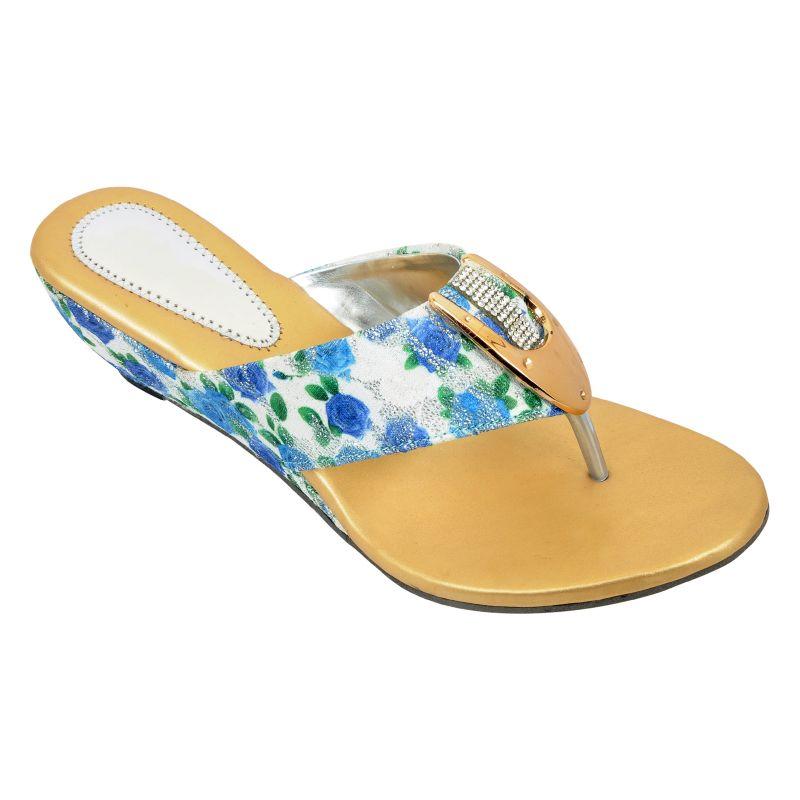 Buy Altek Comfort Designer Blue Heel Sandal (product Code - Foot_1353_blue) online