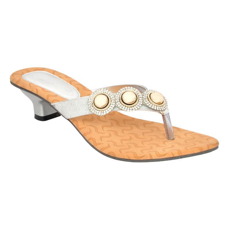 Buy Altek Designer Silver Kitten Heel Sandal (product Code - S1316_silver) online