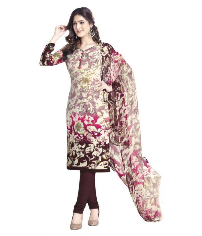 Buy Sinina Multi Color Un Stitched Crepe Printed Dress Material (code - 10vc1762) online