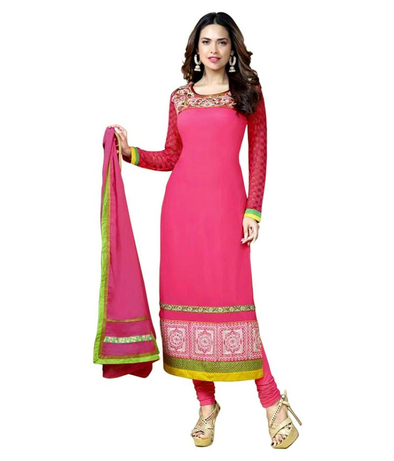 Buy Sinina Georgette Semi Stitched Pink Dress Material-red119tangy1307 online