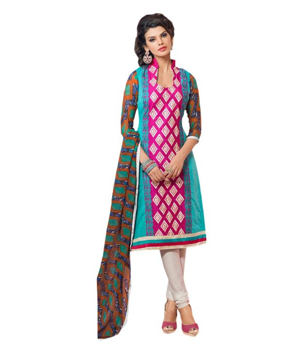 Buy Sinina Women's Chanderi Cotton Dress Material online