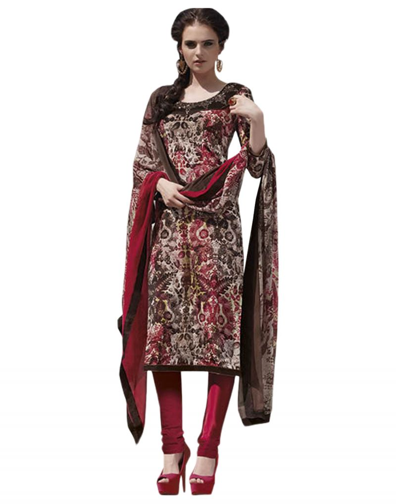 Buy Sinina Multi Color Un Stitched Pure Crepe Dress Material (code - 123tangy6406a) online