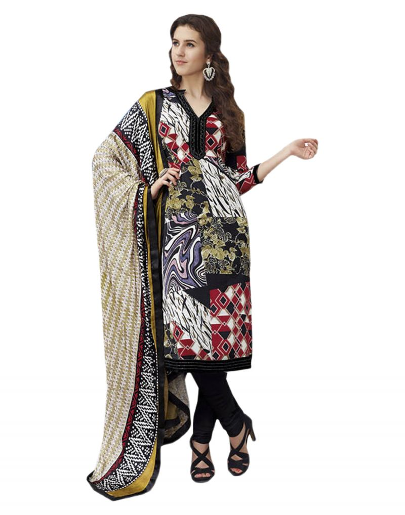 Buy Sinina Multi Color Un Stitched Pure Crepe Dress Material (code - 123tangy6408b) online