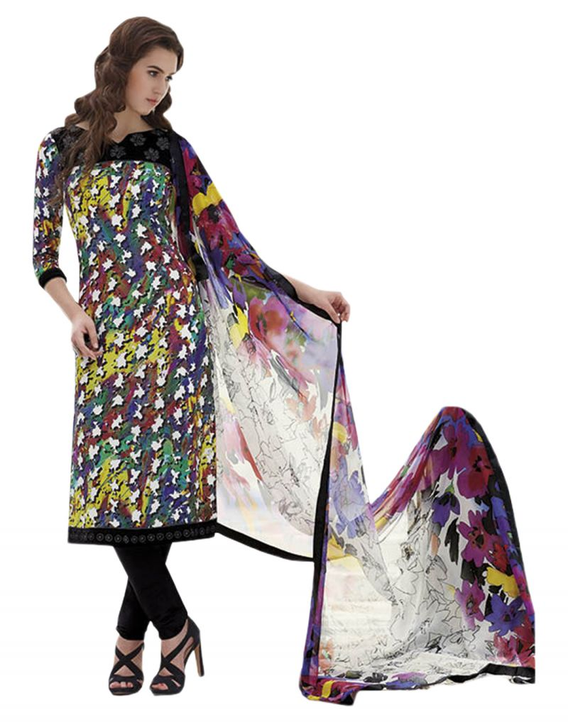Buy Sinina Multi color Un stitched pure crepe dress material online