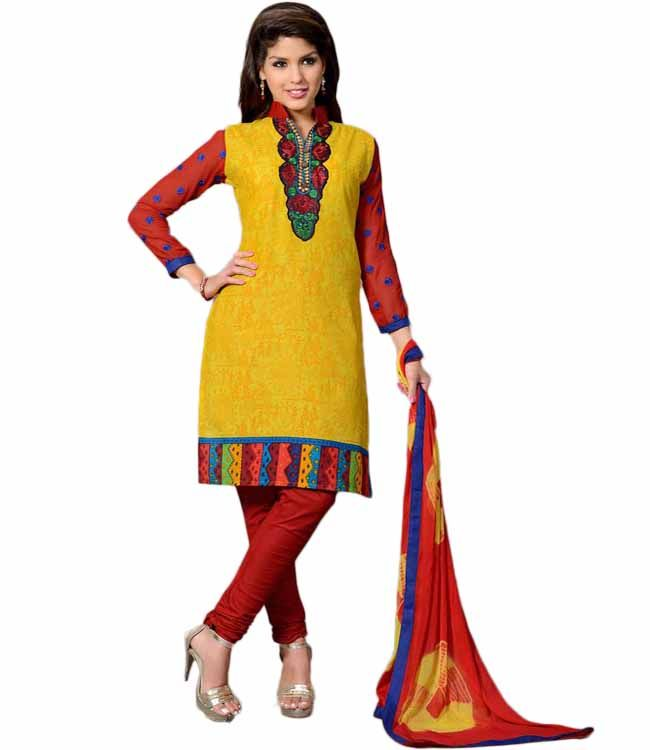 Buy Sinina multi color Un stitched cotton embroidered dress material online