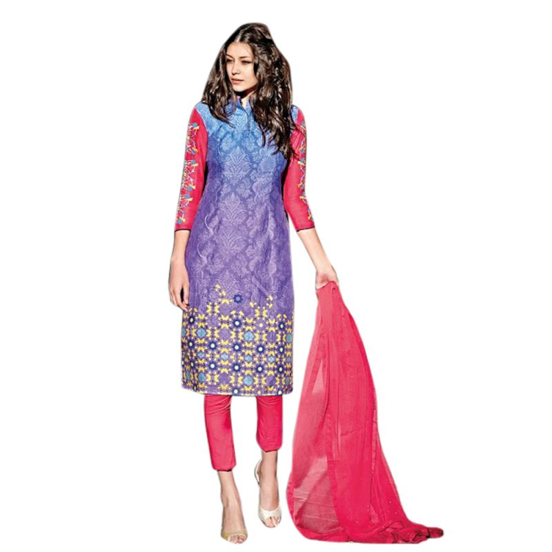Buy Sinina Multi Color Unstitched Cotton Embroidered Dress Material (code - Fcsenti9110) online