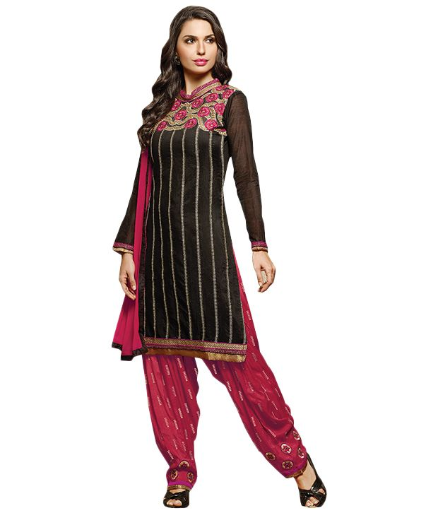 Buy Sinina Black Color Patiala Un Stitched Chanderi Cotton Embroidered Dress Material (code - Phv7810) online