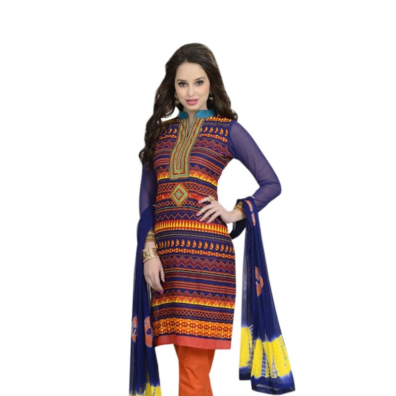 Buy Sinina Multi Color Un Stitched Cotton Embroidered Dress Material (code - Lwb313) online