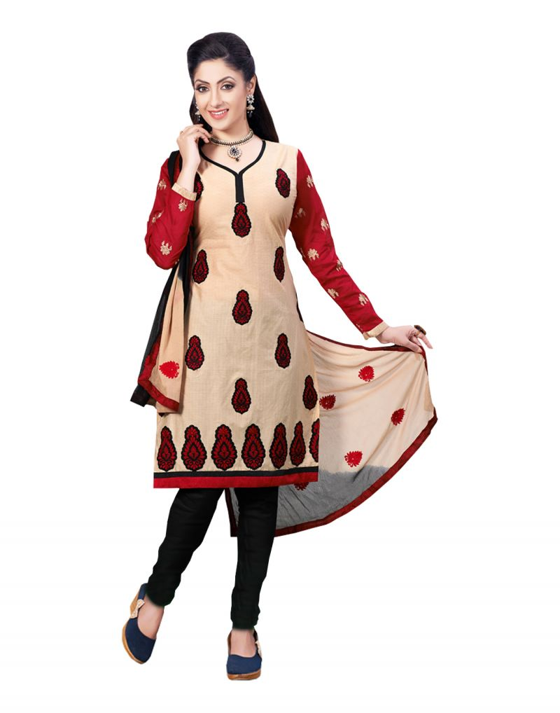 Buy Sinina Cream Color Un Stitched Cotton Embroidered Dress Material (code - Lwsw60) online