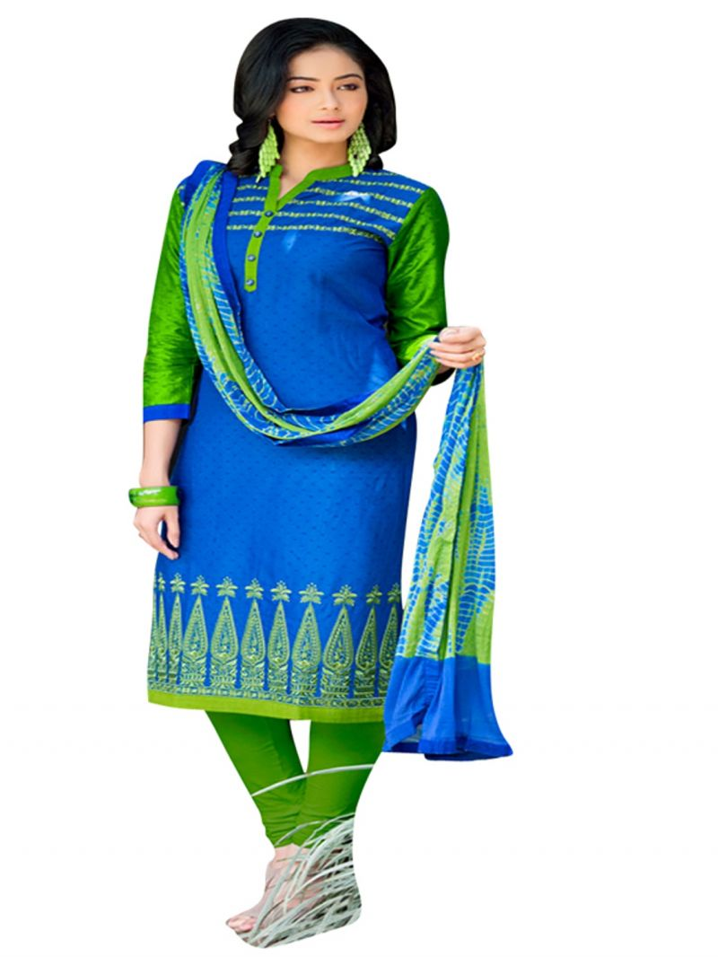 Buy Cotton Embroidered Unstitched Dress Material-plati01 online