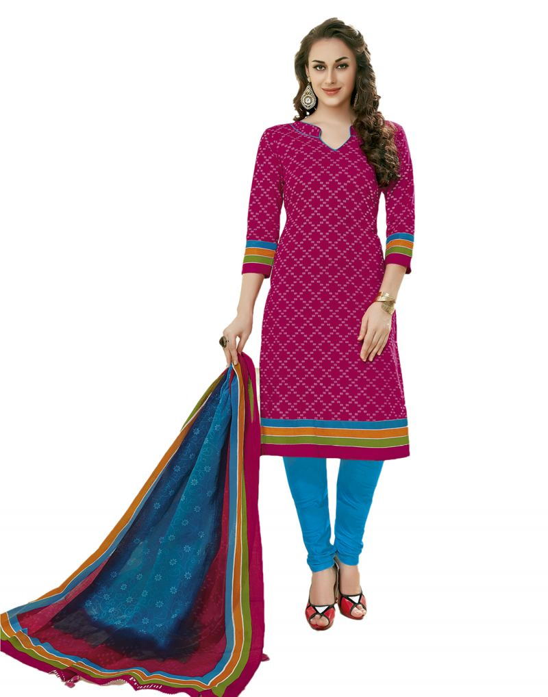 Buy Sinina Dark Pink Color Un Stitched Cotton Printed Dress Material (code - Sgp807) online