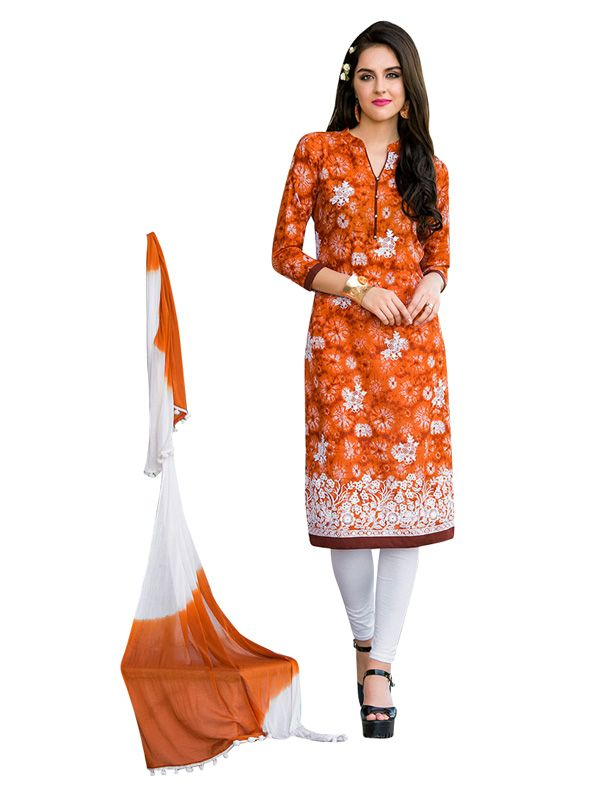 Buy Sinina orange color Un stitched cotton embroidered dress material online