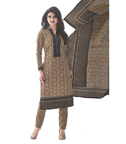 Buy Sinina Brown Cotton Printed Unstitched Dress Material-sgp508 online