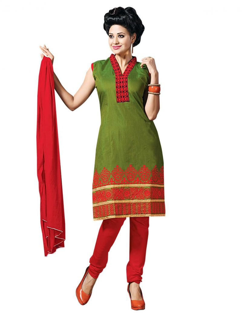 Buy Sinina Green Color Unstitched Cotton Embroidered Dress Material (code - Rh20pk10) online