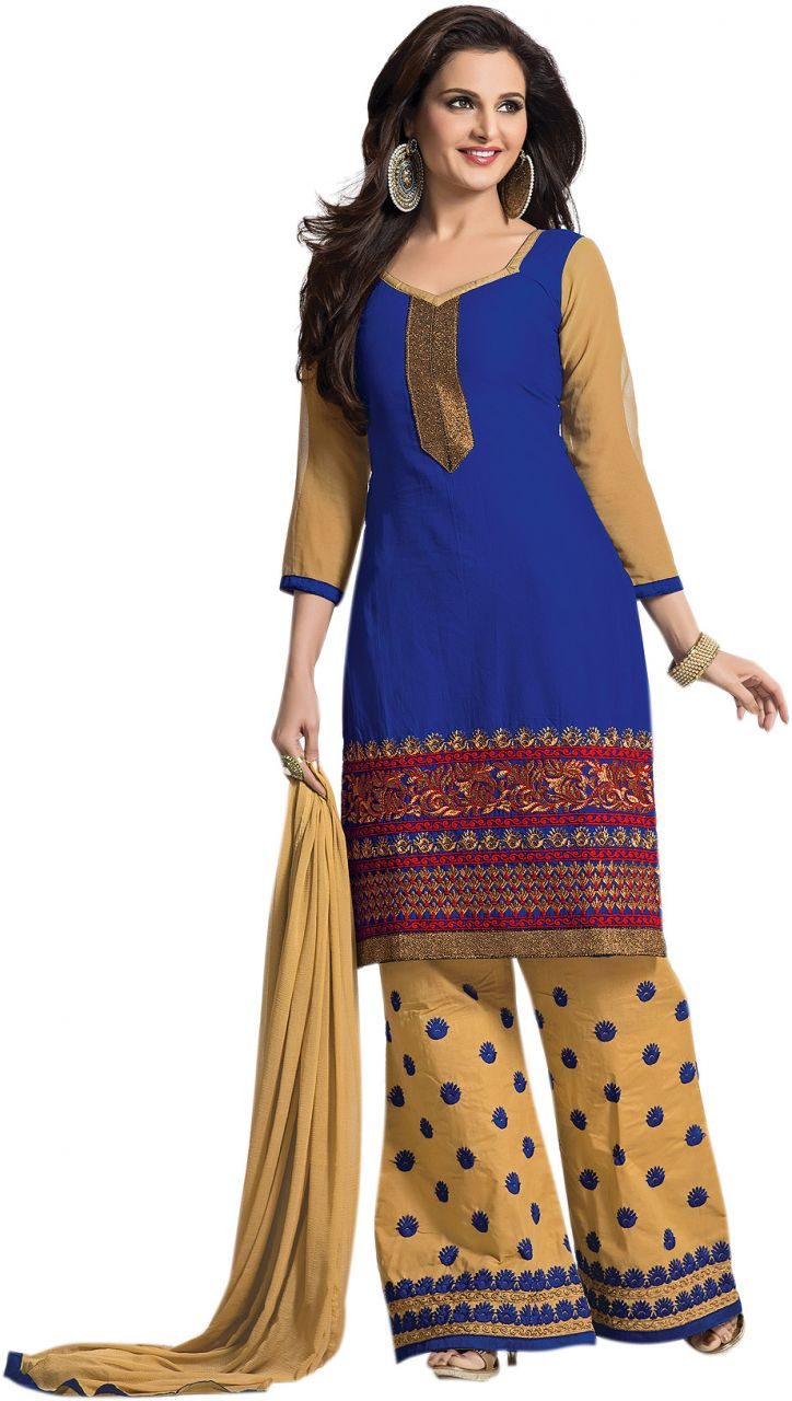 Buy Sinina Blue Color Unstitched Cotton Embroidered Dress Material (code - Rhpz07) online