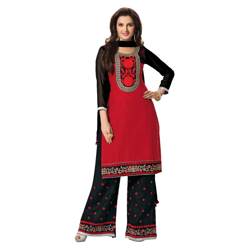 Buy Sinina Red Color Unstitched Cotton Embroidered Dress Material (code - Rhpz10) online
