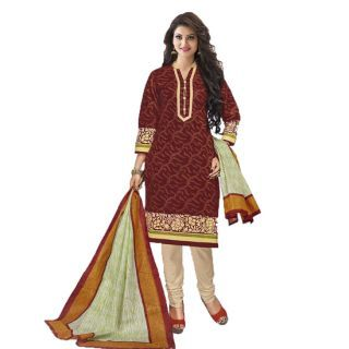 Buy Sinina Maroon Color Un Stitched Cotton Printed Dress Material (code - Sgp536) online