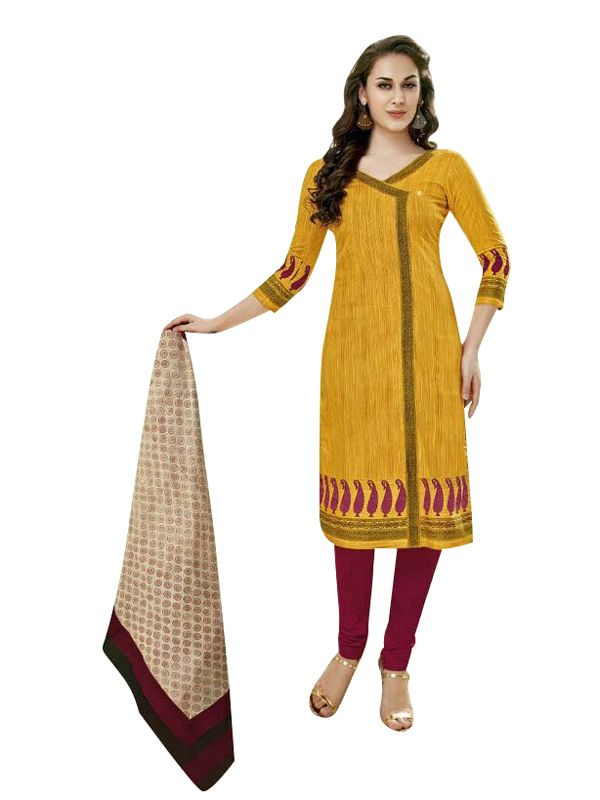 Buy Sinina Yellow Women Printed Cotton Dress Material online