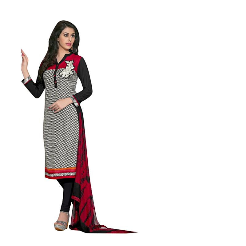 Buy Sinina Multi Color Un Stitched Cotton Embroidered Dress Material (code - Wave01) online