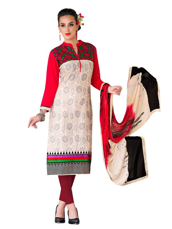 Buy Sinina Multi Color Un Stitched Cotton Embroidered Dress Material (code - Wave22) online