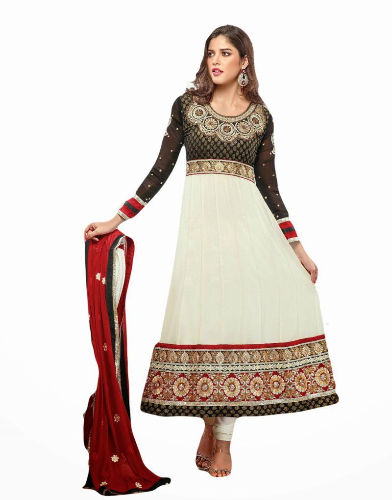 Buy Sinina White Georgette Salwar Kameez Suit Semi Stitched Anarkali Dress Material-zisa4253 online